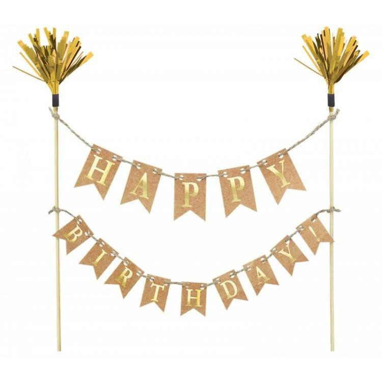 The Original Party Bag Company - Gold Birthday Cake Bunting - CATE797- The Original Party Bag Company
