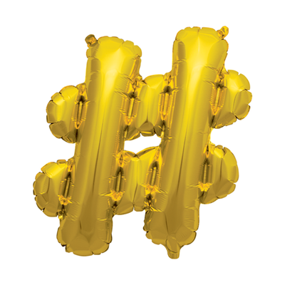 The Original Party Bag Company - Gold Hashtag Balloon - 01234-01N- The Original Party Bag Company