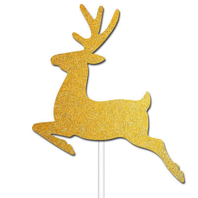 The Original Party Bag Company - Gold Reindeer Cake Toppers (Pk12) - BM560- The Original Party Bag Company
