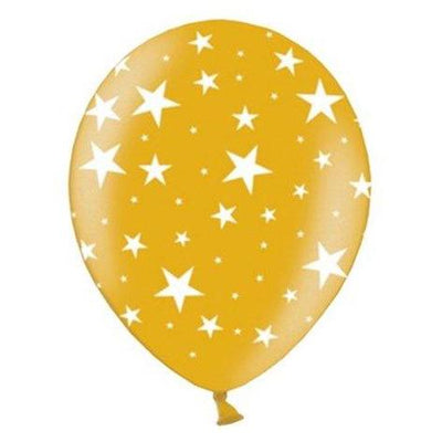 The Original Party Bag Company - Gold Star Print Balloons (Pk12) - goldstarball- The Original Party Bag Company