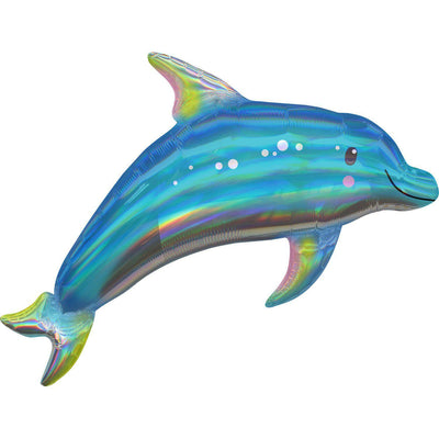 The Original Party Bag Company - Holographic Iridescent Blue Dolphin Foil Balloon - bluedolphballoon- The Original Party Bag Company