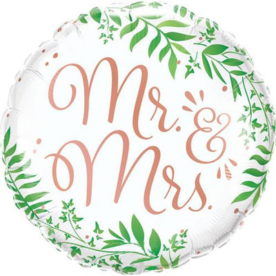 The Original Party Bag Company - Mr & Mrs Elegant Greenery Foil Balloon - 10402- The Original Party Bag Company