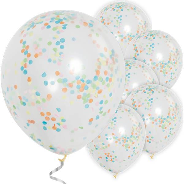 The Original Party Bag Company - Multicolour Confetti Balloons (Pk6) - TF49615- The Original Party Bag Company