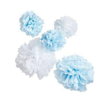 The Original Party Bag Company - Oh Baby Blue & White Pom Poms (Pk5) - jo22bl- The Original Party Bag Company