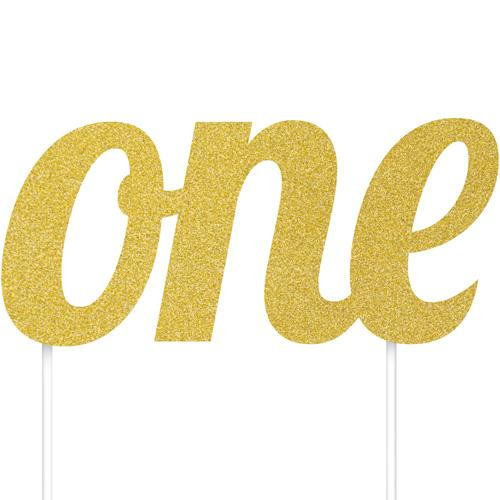 The Original Party Bag Company - One Gold Glitter Cake Topper - tf17221- The Original Party Bag Company