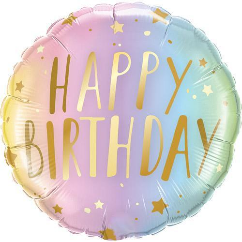 The Original Party Bag Company - Pastel Ombre Birthday Balloon - FOIL3249- The Original Party Bag Company
