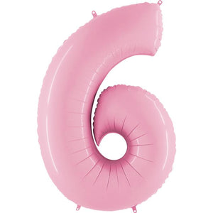 The Original Party Bag Company - Pastel Pink Air Fill Number Balloons - airpink6- The Original Party Bag Company