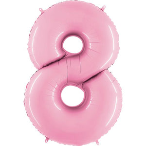 The Original Party Bag Company - Pastel Pink Air Fill Number Balloons - airpink8- The Original Party Bag Company