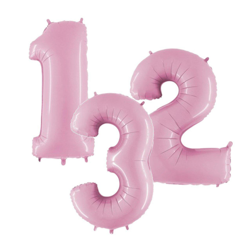 The Original Party Bag Company - Pastel Pink Air Fill Number Balloons - - The Original Party Bag Company
