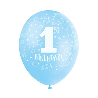 The Original Party Bag Company - Pearlised Blue 1st Birthday Balloons (Pk5) - tf21707- The Original Party Bag Company