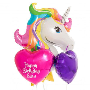 Bubblegum Balloons - Personalised Inflated Foil Bunch - Unicorn Dreams - persunicornbunch- The Original Party Bag Company