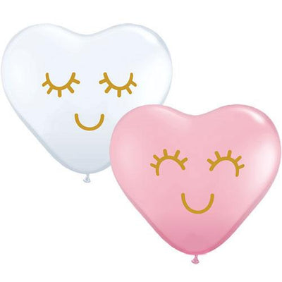 The Original Party Bag Company - Pink & White Eyelash Heart Latex Balloon (Pk5) - 97147- The Original Party Bag Company
