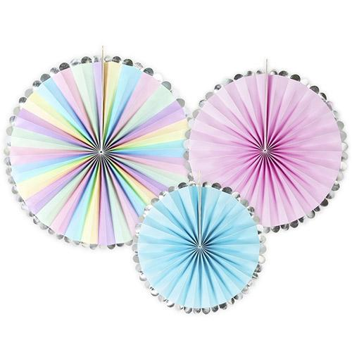 The Original Party Bag Company - Pretty Pastel Paper Fans (Pk3) - BMRPK11- The Original Party Bag Company