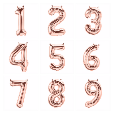 The Original Party Bag Company - Rose Gold Air Fill Number Balloons - - The Original Party Bag Company