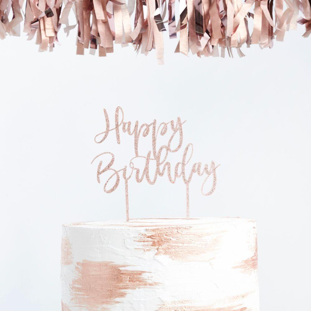 The Original Party Bag Company - Rose Gold Birthday Cake Topper - rg013- The Original Party Bag Company