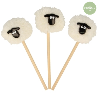 The Original Party Bag Company - Sheep Pom Pom Pencil - PN16PS- The Original Party Bag Company