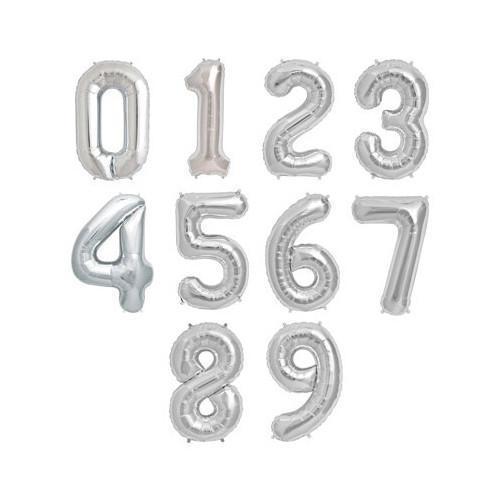 The Original Party Bag Company - Silver Air Fill Number Balloons - - The Original Party Bag Company