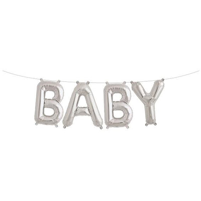 The Original Party Bag Company - Silver BABY Balloon Banner - 0124601- The Original Party Bag Company