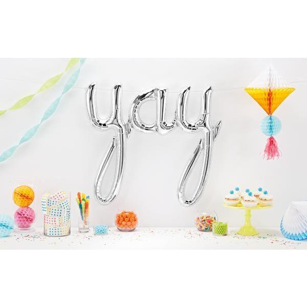 The Original Party Bag Company - Silver YAY Script Balloon - 01289-01- The Original Party Bag Company