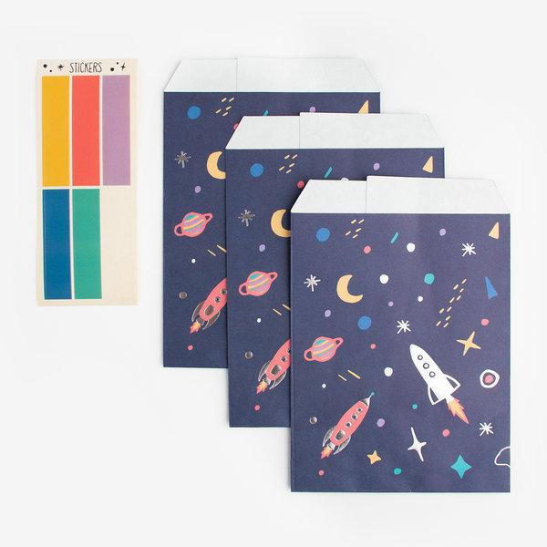 The Original Party Bag Company - Space Paper Treat Bags (Pk6) - TNSP6- The Original Party Bag Company
