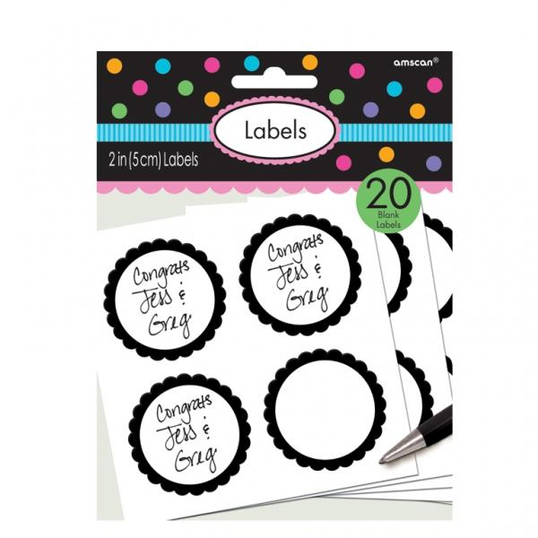 The Original Party Bag Company - Value Black Sticker Labels (Pk20) - blacklabel- The Original Party Bag Company