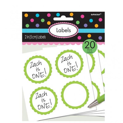 The Original Party Bag Company - Value Green Sticker Labels (Pk20) - greenlabel- The Original Party Bag Company