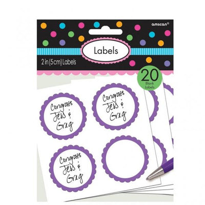 The Original Party Bag Company - Value Purple Sticker Labels (Pk20) - purplelabel- The Original Party Bag Company