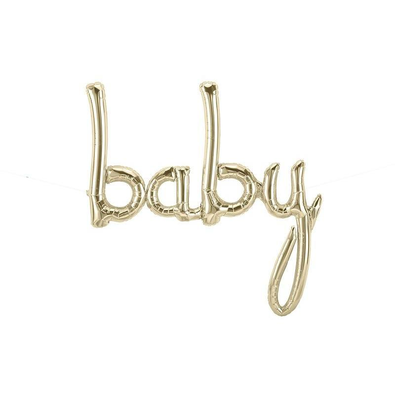 The Original Party Bag Company - White Gold BABY Script Balloon - 01335-01- The Original Party Bag Company