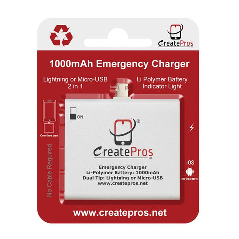 Emergency One-Time Mobile Charger Disposable Power Bank 1000mAh for Smartphone (5-Pack)