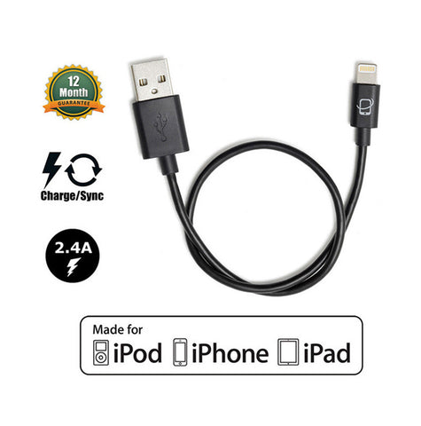 DJI Inspire 1 and Phantom 3 Compatible Apple Certified Lightning to USB Cable - 13 Inches (Black) - CreatePros, LLC - 1