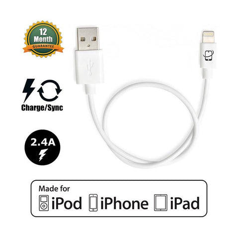 Short 13in Apple Certified Lightning to USB 2.0 Data Sync and Charge Cable (White) - CreatePros, LLC - 1