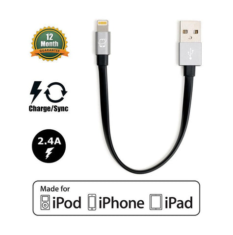 Short 7.5in Apple Certified Lightning to USB 2.0 Data Sync and Charge Cable (Black/Gray) - CreatePros, LLC - 1