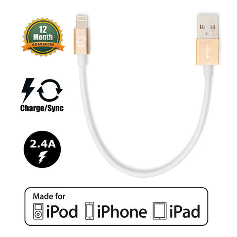 3-Pack of Short Apple Certified Lightning to USB Data Sync and Charge Cables (White/Gold) - CreatePros, LLC - 2