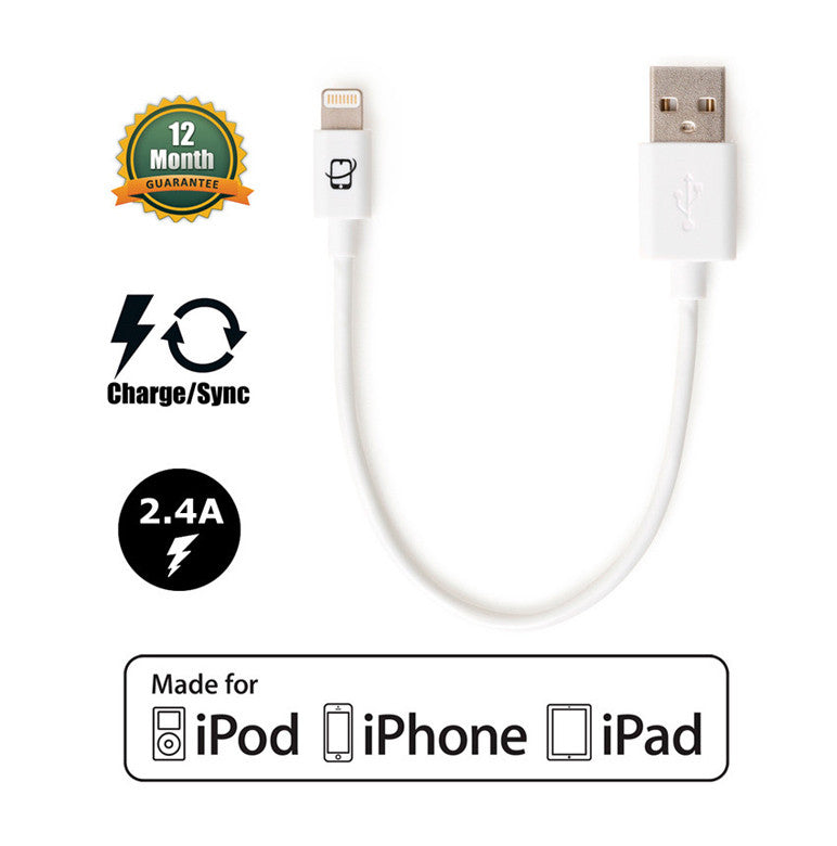 Short 7.5in Apple Certified Lightning to USB 2.0 Data Sync and Charge Cable (White) - CreatePros, LLC - 1