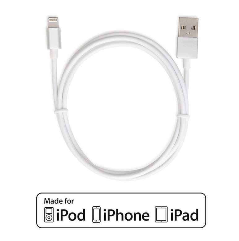 Apple Certified Lightning to USB 2.0 Data Sync and Charge Cable 1M (White/Silver) - CreatePros, LLC - 6