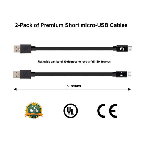 2-Pack of Premium Short 6in Micro USB Cables High Speed USB 2.0 Sync and Charge (Black) - CreatePros, LLC - 1