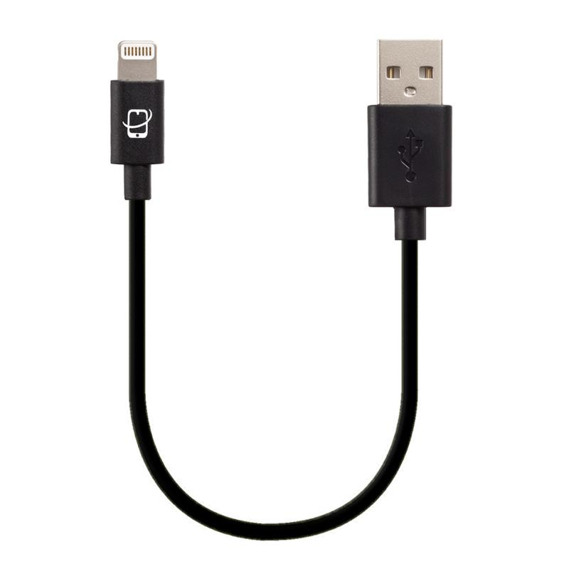 Short Apple Certified Lightning to USB Cable 7.5 Inch - (Black)