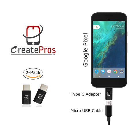 2-Pack of USB Type C to Micro USB Adapter Connector (Black) - CreatePros, LLC - 3