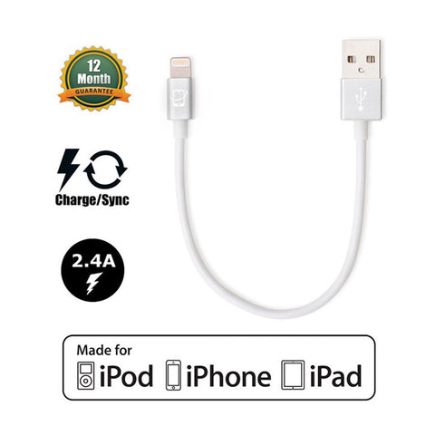 3-Pack of Short Apple Certified Lightning to USB Cables (White/Silver)