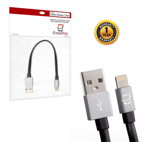 2-Pack of Apple MFI Certified CreatePros Lightning to USB Cables - Black / Space Gray (0.2m/1m) - CreatePros, LLC - 8