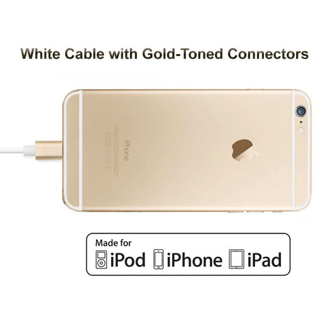 3-Pack of Short Apple Certified Lightning to USB Data Sync and Charge Cables (White/Gold) - CreatePros, LLC - 4
