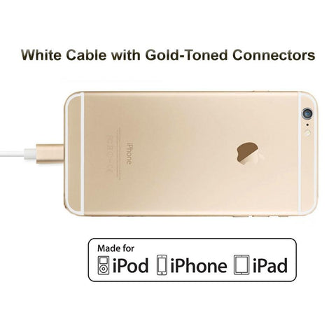 Short 7.5in Apple Certified Lightning to USB 2.0 Data Sync and Charge Cable (White/Gold) - CreatePros, LLC - 3