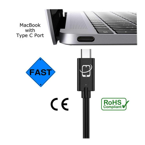 USB Type C to USB Type C Cable (USB 3.1 Gen 2) - 12 Inch (Black)