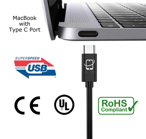 2-Pack of USB Type C to USB 3.1 Type A Cables Short - 6 Inch (Black)