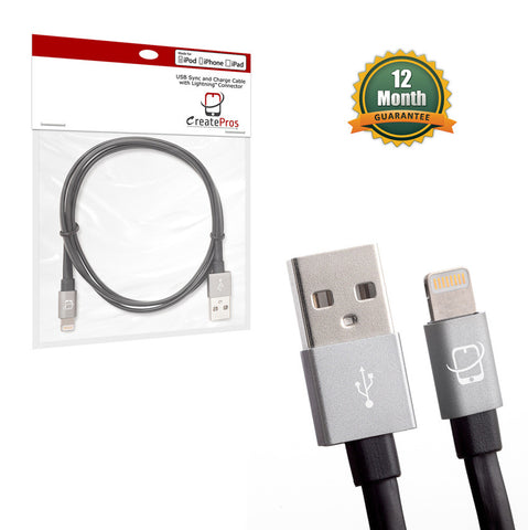 Apple Certified Lightning to USB Sync/Charge Cable - 1 Meter Length (Black/ Space Gray) - CreatePros, LLC - 5