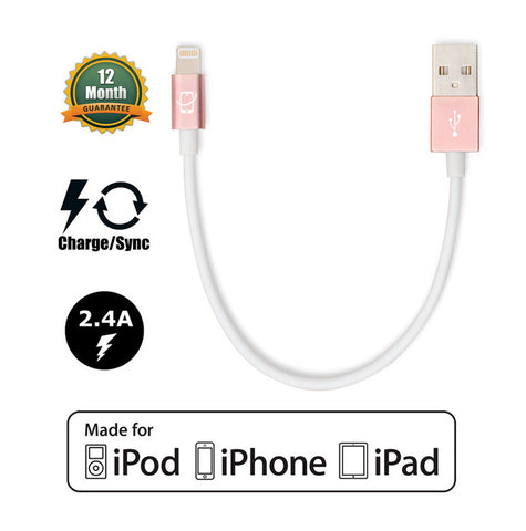 2-Pack of Apple MFI Certified CreatePros Lightning to USB Cables - White / Rose Gold (0.2m/1m) - CreatePros, LLC - 2