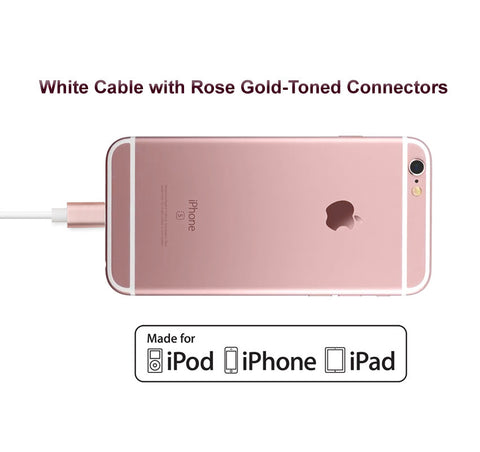 3-Pack of Short Apple Certified Lightning to USB 2.0 Data Sync and Charge Cable (White/Rose Gold) - CreatePros, LLC - 4
