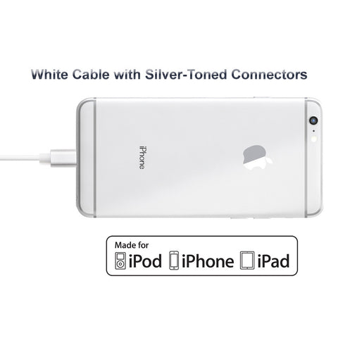 Short 7.5in Apple Certified Lightning to USB 2.0 Data Sync and Charge Cable (White/Silver) - CreatePros, LLC - 2