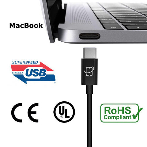 2-Pack of USB Type C to USB Type A Cables - 12 Inch (Black)