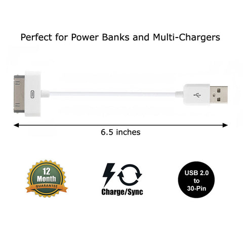 Short 6 inch Data Sync and Charge Cable for Apple iPhone 4S, 4, 3GS, 3 (White) - CreatePros, LLC - 1